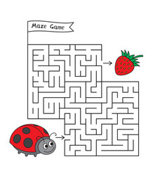 Cartoon ladybug maze game vector