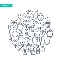 celebrating lined icons collection vector image