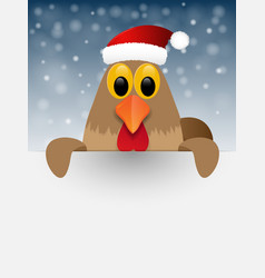 Christmas background with rooster vector