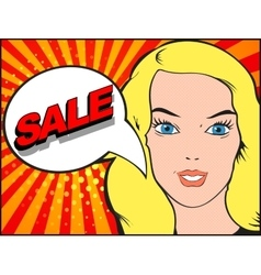 Comics style woman with sale bubble pop art vector