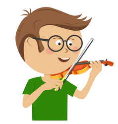 cute nerd little boy with glasses plays violin vector image