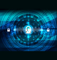 cyber security closed padlock vector image vector image