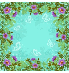 Flowers butterflies and sky vector image vector image