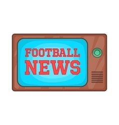 Football news on retro tv icon cartoon style vector