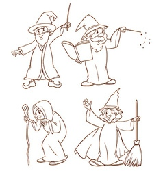 Four wizards vector image