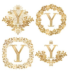 Golden y letter vintage monograms set heraldic vector
