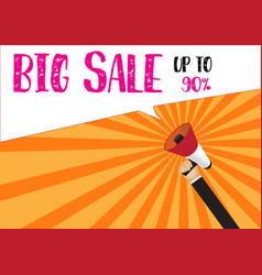 hand holding megaphone to speech - big sale up to vector image vector image