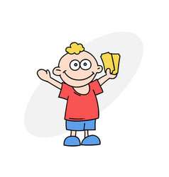 happy boy with tickets vector image vector image