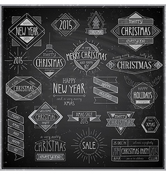 Hip xmas emblems chalkboard vector