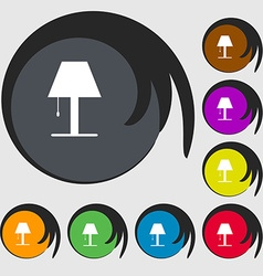 Lamp icon sign symbols on eight colored buttons vector