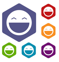 Laughing emoticon icons set vector