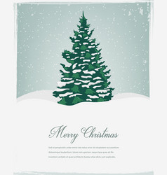 Merry christmas greeting christmas tree in the vector