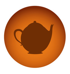 orange emblem teapot icon vector image vector image