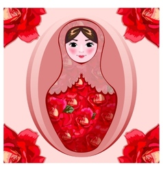 Painted matryoshka in crimson roses vector
