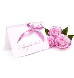 Pink roses card vector