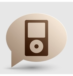 Portable music device brown gradient icon on vector