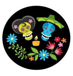 poster with colorful skulls with candle and flower vector image