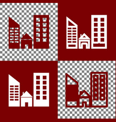 Real estate sign bordo and white icons vector