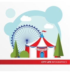 Red and white Circus tent icon in the flat style vector image