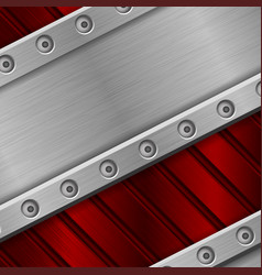Red metal background with rivets stainless steel vector