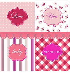 Set of feminine textures and frames vector