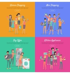 Shopping on sale flat web banners set vector
