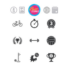 Sport games fitness icon bike basketball vector