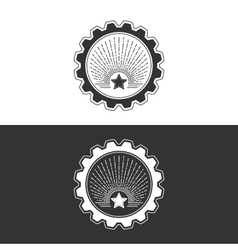 Star and sunburst in gear design element vector