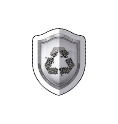 Sticker shield with recycled symbol vector
