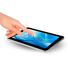 tablet with diagram and women hand vector image