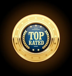 Top rated golden insignia - appreciated medal vector