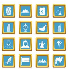 Uae travel icons azure vector
