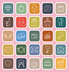 Wedding line flat icons on pink background vector image