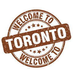 welcome to toronto brown round vintage stamp vector image vector image