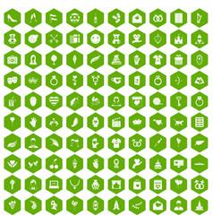 100 heart icons hexagon green vector