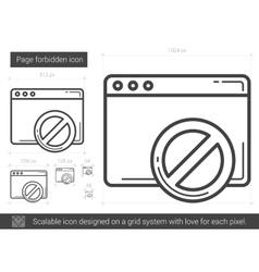 Page forbidden line icon vector