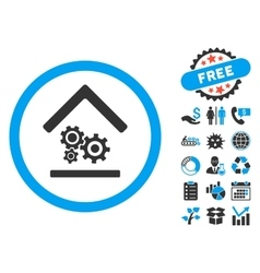 Workshop flat icon with bonus vector