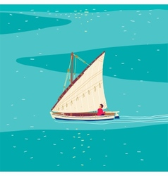 Fisherman sailboat vector