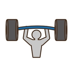 Pictogram man barbell weight hard vector