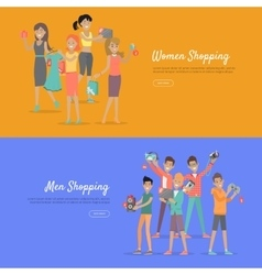 Women and men shopping banners accessoires on sale vector