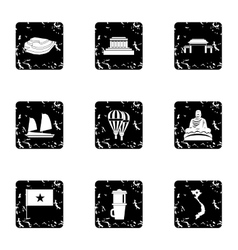 Vietnam icons set grunge style vector