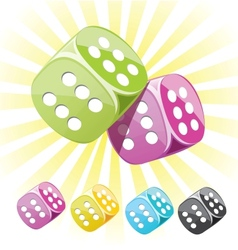 Lucky dices many color set vector