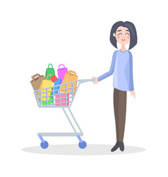 woman with shopping trolley flat icon vector image