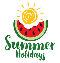 Summer holidays with bitten slice of watermelon vector