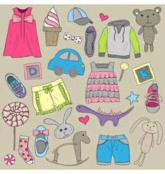 Children clothes and toys design elements set vector