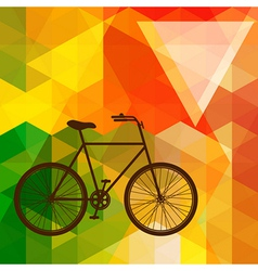 Silhouette of an old bicycle on a colorful mosaic vector image