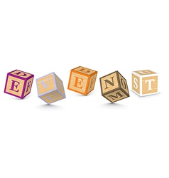 Word event written with alphabet blocks vector