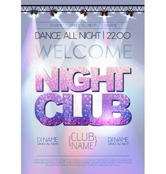 Disco background night club poster vector
