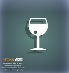 Glass of wine icon symbol on the blue-green vector