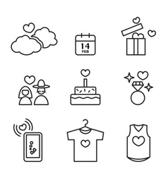 Valentines day love and wedding line icons set vector